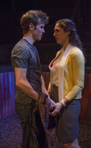 Christopher Sheard and Eleni Pappageorge in Profiles Theatre's production of COCK.