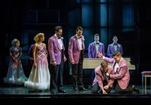 Liberty Cogen, Lindsay Moore, Matt Bailey, Douglas Williams, Shayne Kennon, Chris Dwan, (kneeling front) Will Taylor and Will Blum in HARMONY by Barry Manilow at the Ahmanson in L.A.