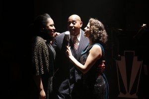 Charenee Wade, Allan Harris and Cyrille Aimée in CAFE SOCIETY SWING at 59E59 Theaters. Photo by Carol Rosegg