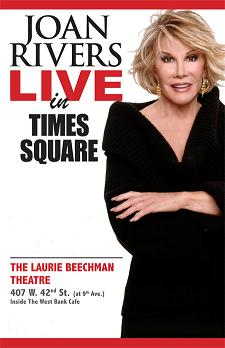 Post image for Off-Broadway Theater Review: JOAN RIVERS LIVE AT TIMES SQUARE (Laurie Beechman Theater)