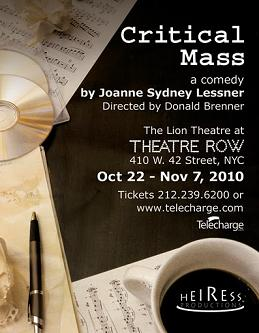 Post image for CRITICAL MASS by Joanne Sydney Lessner – The Lion Theatre at Theatre Row – Off Broadway Theater Review