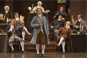 Brandon Dahlquist (center) as Thomas Jefferson and fellow delegates to the Continental Congress in A.C.T.'s 1776.