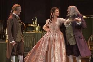John Adams (John Hickok, left) and Benjamin Franklin (Andrew Boyer) greet Martha Jefferson (Andrea Prestinario) in A.C.T.'s 1776.