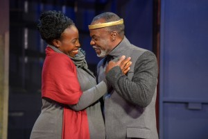Omozé Idehenre as Hermione and L. Peter Callender as Leontes in Cal Shakes' production of THE WINTER'S TALE