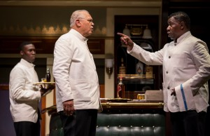 Tosin Morohunfola (Cephas Sykes), Larry Marshall (Monroe Sykes) and Cleavant Derricks (Sylvester Sykes) in 'Pullman Porter Blues' at the Goodman Theatre.