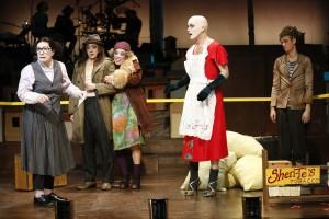 Lisa Kron, Paul Juhn, Brooke Ishibashi, Taylor Mac, and Ephraim Birney in The Foundry Theatre's production of Good Person of Szechwan.