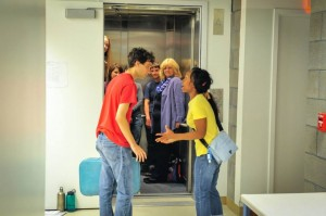 A scene from MOXIE Theatre's COUNTERWEIGHT, AN ELEVATOR LOVE STORY at La Jolla Playhouse's WoW Festival - photo by Daniel Norwood