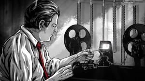 An illustration of George Romero editing his seminal 1968 film NIGHT OF THE LIVING DEAD, as seen in Rob Kuhns' documentary BIRTH OF THE LIVING DEAD.