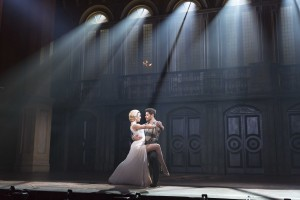 Caroline Bowman as Eva and Josh Young as Che in the national tour of Evita.