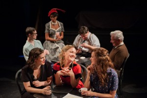 Rita (Lee Stark (center)) joins her friends at the Ham and Eggery. (front-L to R: Skye Shrum and Caitlinn Emmons) (back: l to r: Andy Monson, Flavia Borges, Mike Krystosek, Phil Wasik).