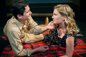 John Tower (Daniel McEvilly) and Emily Ann (Lee Stark) share a romantic picnic.