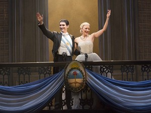 Sean MacLaughlin as Juan Peron and Caroline Bowman as Eva in the national tour of Evita.