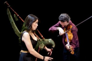 Silk Road's Cristina Pato plays the gaita, and Colin Jacobsen joins on violin - photo by Max Whittaker