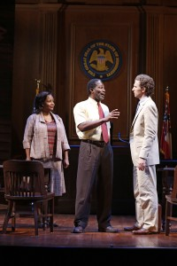 Tonya Pinkins, John Douglas Thompson, and Sebastian Arcelus in Broadway's A TIME TO KILL.