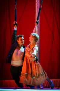 Andrew Durand (Tristan) and Patrycja Kujawska (Yseult) star as ill-fated lovers in the West Coast premiere of Kneehigh's Tristan & Yseult.