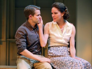 "Andrew Keenan-Bolger & Carolyn McCormick in ""A. R. Gurney's ""Family Furniture"" at the Flea Theater."