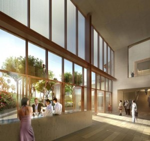 Artist's rendering of the Promenade at The Wallis Annenberg Performing Arts Center.