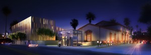 Artist's rendering of the The Wallis Annenberg Performing Arts Center at night.