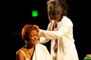 EVet Thompson and Bahni Turpin in Cornerstone Theater's production of LOVE ON SAN PEDRO.