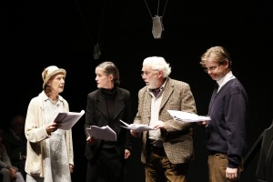 Eileen Atkins, Catherine Cusack, Trevor Cooper, and Ruairi Conaghan in Samuel Beckett's ALL THAT FALL, directed by Trevor Nunn, at 59E59 Theaters.