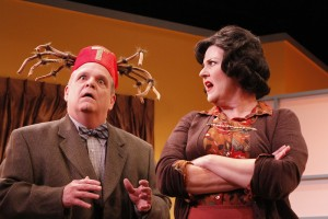 Fred Harlow and Melinda Gilb in She-Rantulas from Outer Space-in3D! at Diversionary Theatre.