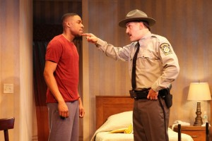 Grantham Coleman and Matthew Montelongo in ONE NIGHT... a co-production of Cherry Lane and Rattlestick Playwrights Theater