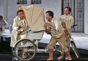 Javier Camarena (Count Almaviva) and Ai Li (Fiorello) in SF Opera's production of THE BARBER OF SEVILLE.