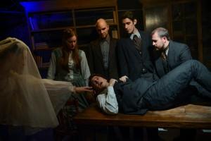Megan Kohl, Amanda Drinkall, Michael Tipeli (lying down), Kyle Gibson, John Taflan, and John Ferrick in GREAT EXPECTATIONS at Strawdog Theatre.