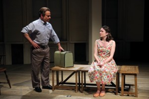 "Peter Scolari & Ismenia Mendes in ""A. R. Gurney's ""Family Furniture"" at the Flea Theater."