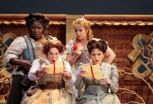 Ronnita Nicole Miller as Mistress Quickly, Erica Brookhyser as Meg Page; Ekaterina Sadovnikova as Nannetta; Carmen Giannattasio as Alice Ford. Photo by Robert Millard