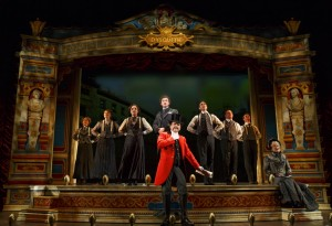 The cast of A Gentleman's Guide to Love and Murder at the Walter Kerr Theater.
