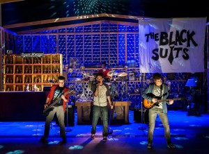 Will Roland, Coby Getzug, Harrison Chad (drums) and Jimmy Brewer in the world premiere of THE BLACK SUITS at the Kirk Douglas Theatre.