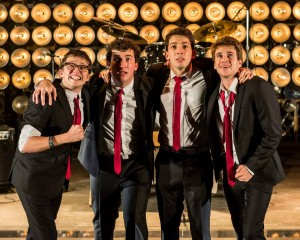 Will Roland, Harrison Chad, Coby Getzug and Jimmy Brewer in the world premiere of THE BLACK SUITS at the Kirk Douglas Theatre.