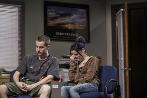 Colin Sphar (Peter) and Reyna de Courcy (Karlie) in Goodman Theatre's world-premiere production of LUNA GALE.