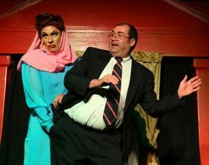 David Cerda and Michael Jack Hampton in Hell in a Handbag's CHRISTMAS DEAREST at Mary's Attic.