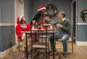 Gina Taliaferro, Greg Geffrard and Jake Carr in And The Snow Came Down by Tate Geborkoff, directed by Tara Branham, part of Step Up Productions' HoliDaze.
