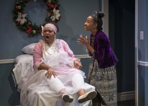 Nadirah Bost and Jennifer Glasse in For My Brothers Whenever I May Find Them by Nambi E. Kelley, directed by Daniel Bryant, part of Step Up Productions' HoliDaze.