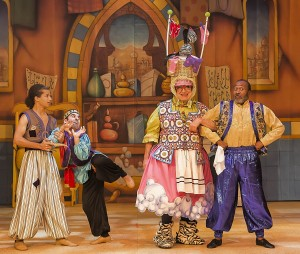 (L-R) Jordan Fisher, Ben Giroux, Bruce Vilanch and Ben Vereen in ALADDIN AND HIS WINTER WISH at The Pasadena Playhouse.