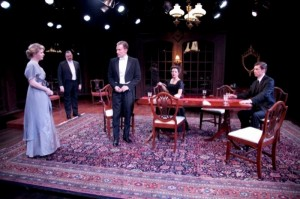 Isabel Ellison, Roderick Peeples, Greg Matthew Anderson, Lia Mortensen and Nick Sandys in Remy Bumppo's AN INSPECTOR CALLS.