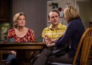 Jordan Baker (Cindy), Richard Thieriot (Pastor Jay), and Mary Beth Fisher (Caroline) in Goodman Theatre's world-premiere production of LUNA GALE.