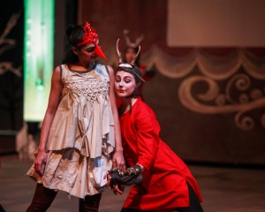 Kinnari Vora and Ashley Fargnoli, both of The Kalapriya Center for Indian Performing Arts, as Dove and Deer in Redmoon's WINTER PAGEANT.