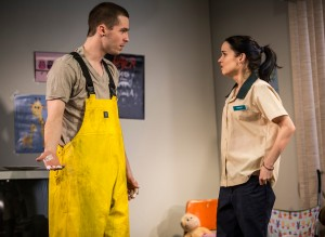 (L to R) Colin Sphar (Peter) and Reyna de Courcy (Karlie) in Goodman Theatre's world-premiere production of LUNA GALE.