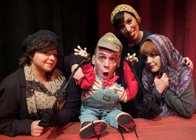 Lisa Valenzuela, Matt Walker, Katie Nuñez and Katherine Donahoe in Troubadour Theater Company's Walkin' in a Winter One-Hit-Wonderland at the Falcon Theatre.