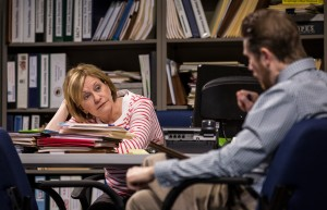 Mary Beth Fisher (Caroline) and Erik Hellman (Cliff) in Goodman Theatre's world-premiere production of LUNA GALE.