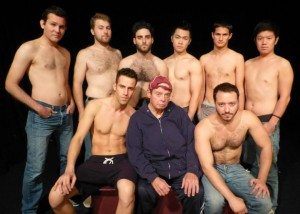 The cast of TAKE ME OUT, opening at the Flight Theatre in Hollywood 1/4/14. (seated from left): Jeff Basham, PJ Waggamanm, Will Bethencourt (standing from left): Gustaf Saige, Peter Stoia, Kyle Colton, Hayden Lam, Justin Teitell, Takumi Bansho