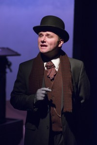 """Darren Hill as Dr. Watson in """"Sherlock Holmes and the Case of the Christmas Goose"""" at Raven Theatre's East Stage."""
