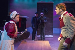 """L-R: JoAnn Montemurro as Mrs. Breckenridge, Darren Hill as Dr. Watson, Tyler Rich as Sherlock Holmes, Bryan Dawidowicz as James Ryder in """"Sherlock Holmes and the Case of the Christmas Goose"""" at Raven Theatre's East Stage."""