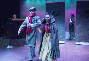 "L-R: George Goetschel, Evan Voboril, Sophia Menendian, Dan Toot in ""Sherlock Holmes and the Case of the Christmas Goose"" at Raven Theatre's East Stage."