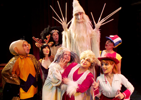 The cast of Troubadour Theater Company's Walkin' in a Winter One-Hit-Wonderland at the Falcon Theatre.