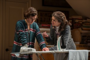 (right to left) Beth (ensemble member Molly Regan) gives words of encouragement to her daughter, Ruth (Helen Sadler) in Steppenwolf Theatre Company's Chicago-premiere production of Tribes by Nina Raine, directed by ensemble member Austin Pendleton.
